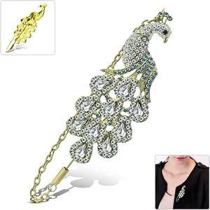 Fashion Peacock Fan Tail Feather Women Pin Brooch